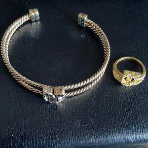 Gold Owl Ring And Bangle Bracelet - Jewelry
